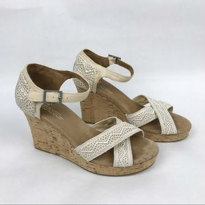 Toms Sienna Ivory Eyelet Lace Cork Wedge Sandals